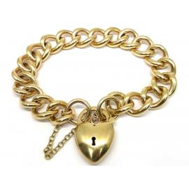 9ct Open Curb Bracelet with Puff Heart Padlock image