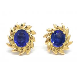 18ct Synthetic Sapphire Oval Earrings image