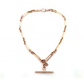 9ct Rose Gold Paper Clip Fob Chain image