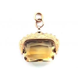 9ct Antique Rose Gold Citrine Spinner Pendant image