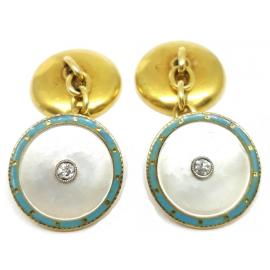 18ct Mother of Pearl Enamel and Diamond Cufflinks image