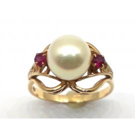 14ct Pearl 2 Ruby Ring image