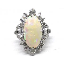 18ct White Gold Opal Diamond Cluster Ring image