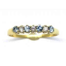 18ct 4 Aquamarine 3 Diamond Ring image
