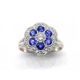 18ct White Gold Sapphire Diamond Flower Cluster Ring image