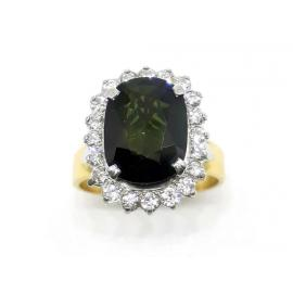 18ct Green Sapphire and Diamond Cluster Ring image