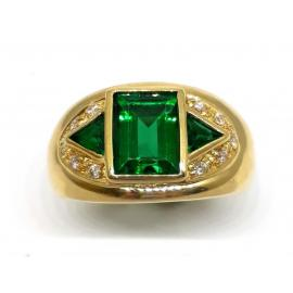 18ct Synthetic Emerald Diamond Ring image