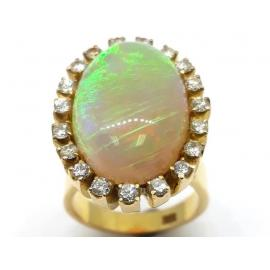 18ct Gold Opal and Diamond Cluster Ring image