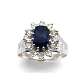 18ct White Gold Sapphire Diamond Cluster Ring TDW.36CT image