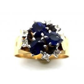 18ct Synthetic Sapphire Diamond Dress Ring image