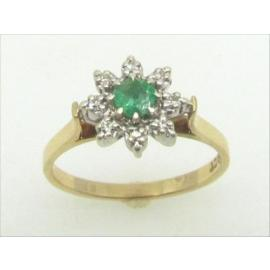 9ct Emerald and Diamond Cluster image