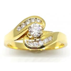 18ct Diamond Solitaire Twist Ring TDW 0.30CT image