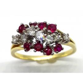 18ct Ruby and Diamond Cluster Dress Ring image