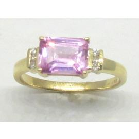 9ct Pink CZ and Diamond Dress Ring image