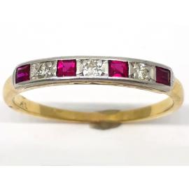 18ct Diamond and Synthetic Ruby Eternity Ring image