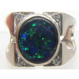 18ct White Gold Opal Triplet And Diamond Dress Ring image