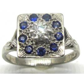 18ct White Gold/ Palladium Synthetic Sapphire Diamond Cluster image