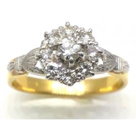 18ct Yellow/White Gold Diamond Cluster Ring TDW 0.45CT image