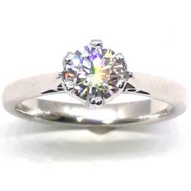 18ct White Gold 6 Claw Diamond Solitaire Ring TDW 0.53CT image