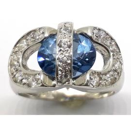 18ct White Gold Blue Topaz CZ Ring image