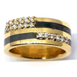 18ct Yellow Gold Copper And Diamond Ring image