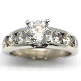 18ct White Gold Diamond Solitaire Ring With Shoulder Stones TDW 1.70CT  image