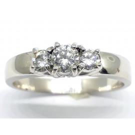18ct White Gold Three Diamond Ring TDW 0.34 image