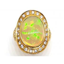 18ct Jelly Opal & Diamond Oval Ring image