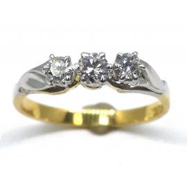 18ct/Platinum 3 Diamond Ring TDW.32CT image