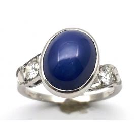 14ct White Gold Star Sapphire & Diamond Ring image