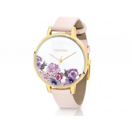 Isadora Andorra Gold & Pink Floral Watch image