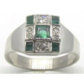 9ct White Gold Emerald Diamond 3x3 Cluster Ring image