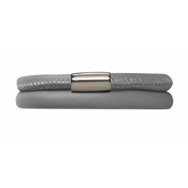 Double Grey Leather Bracelet image