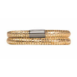 Double Gold Leather Bracelet image