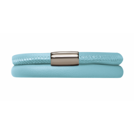 Double Light Blue Leather Bracelet image
