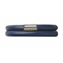 Double Navy Leather Bracelet image