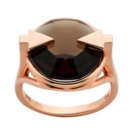 Karen Walker 9ct Rose Gold Navigator Ring with Smokey Quartz image