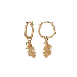 Karen Walker 9ct Acorn & Leaf Mini Hoop Earrings image