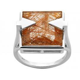 Karen Walker Stg Ballistic Ring with Rutilated Quartz image