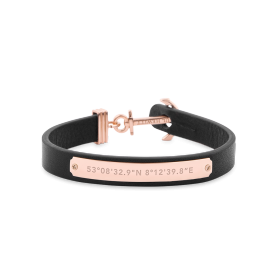 Paul Hewitt Signum Rose/Black Leather Bracelet image