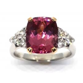 18ct White/Rose Gold Pink Tourmaline and Diamond Ring image