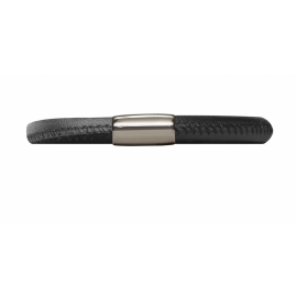 Single Black Leather Bracelet image