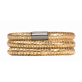 Triple Gold Leather Bracelet image