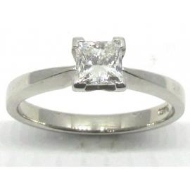 Platinum Princess Cut Diamond Solitaire Ring TDW 0.70CT image