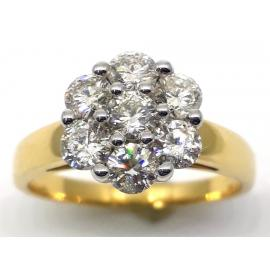 18ct Diamond  Flower Cluster Ring TDW 1.00CT image