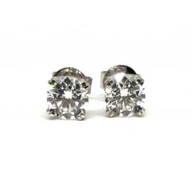 18ct White Gold Diamond Stud Earrings TDW 1.43CT image
