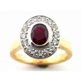 18ct Ruby Diamond Oval Cluster Ring image