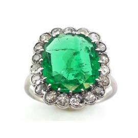 Platinum Emerald Diamond Cluster Ring image