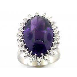 14ct White Gold Amethyst Diamond Cluster Ring image