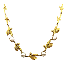 18ct Cultured Pearl Diamond Wreath Necklace image
